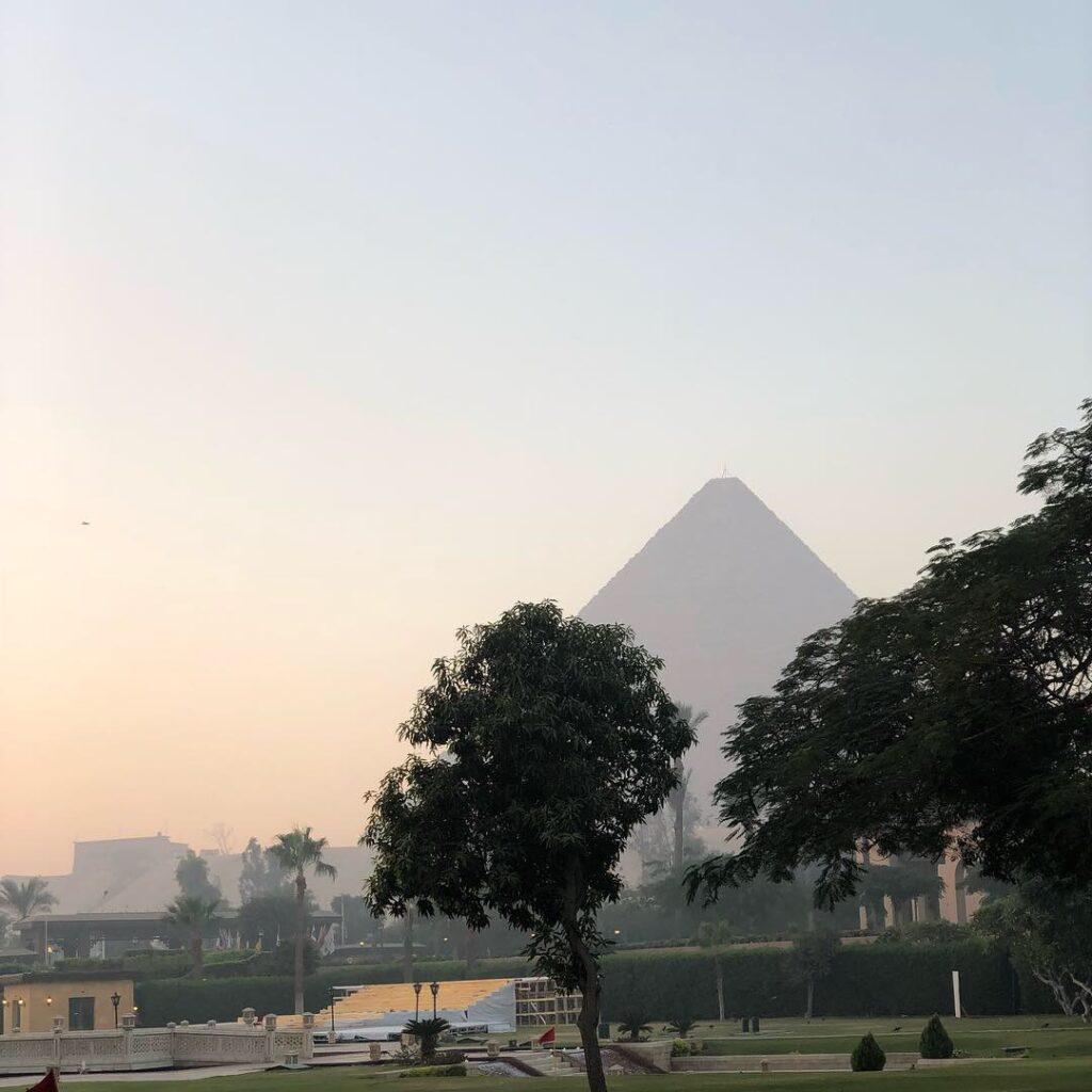 Pyramids from the Mena House Hotel Gardens