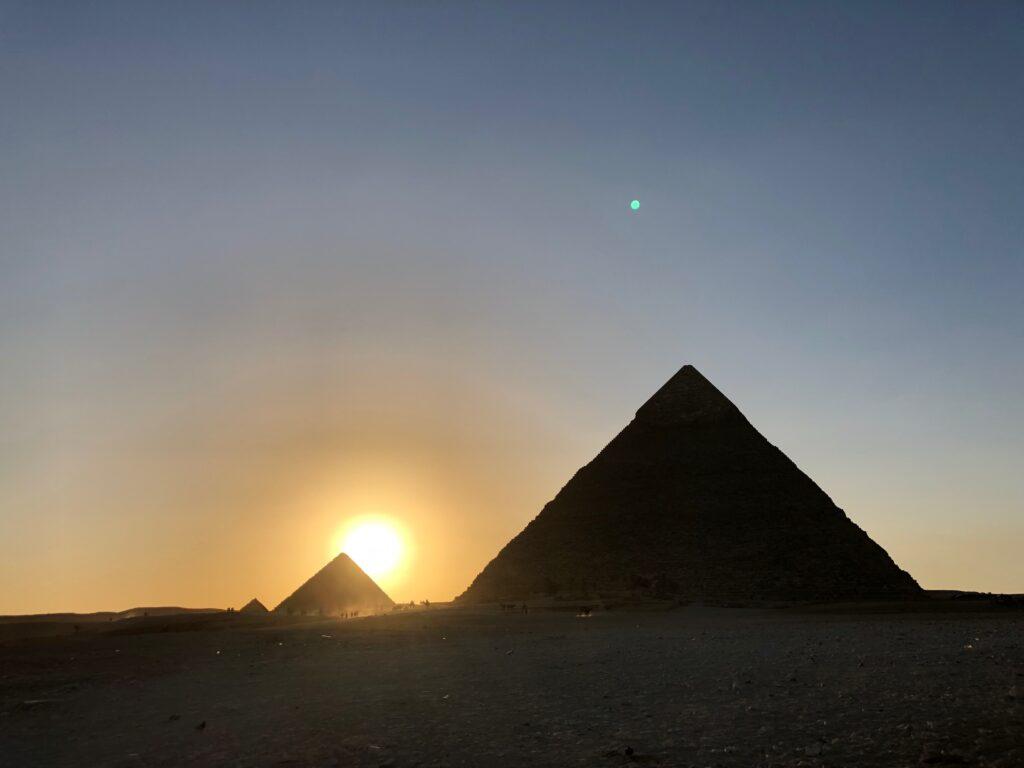 Pyramids of Giza Sunset December 18, 2018
